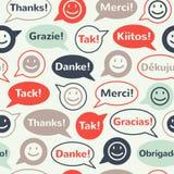 Οι λεκτικές φυσαλίδες με σας ευχαριστούν άνευ ραφής σχέδιο Στοκ εικόνα με δικαίωμα ελεύθερης χρήσης