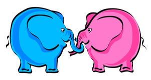 οι ελέφαντες αγαπούν δύο Διανυσματική απεικόνιση