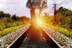 Οι ελέφαντες περπατούν στο σιδηρόδρομο Στοκ εικόνες με δικαίωμα ελεύθερης χρήσης