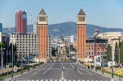 Οι ενετικοί πύργοι στη Βαρκελώνη Στοκ Εικόνες