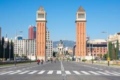 Οι ενετικοί πύργοι στη Βαρκελώνη Στοκ φωτογραφία με δικαίωμα ελεύθερης χρήσης
