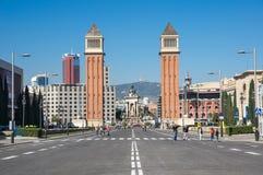 Οι ενετικοί πύργοι στη Βαρκελώνη Στοκ Φωτογραφία