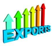 Οι εξαγωγές που αυξάνονται παρουσιάζουν τη διεθνείς πώληση και εξαγωγή διανυσματική απεικόνιση