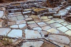 Οι δεξαμενές για την εξάτμιση νερού προκειμένου να ληφθούν οι αλατισμένες αλυκές - Περού Στοκ Εικόνες