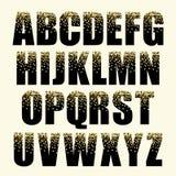 Οι εορταστικές επιστολές αλφάβητου πολυτέλειας με τη γοητεία χρυσή ακτινοβολούν κομφετί απεικόνιση αποθεμάτων