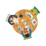 Οι επίπεδες έννοιες απεικόνισης σχεδίου για την επιχειρησιακή ανάλυση στη συνεδρίαση, εργασία ομάδων, οικονομική έκθεση, διαχείρι Στοκ Εικόνες
