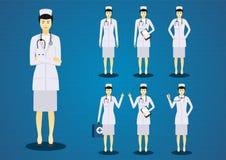 Οι επαγγελματικές νέες νοσοκόμες γυναικών όλο το σύνολο σχεδίου χαρακτήρα δράσης ελεύθερη απεικόνιση δικαιώματος