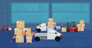 Οι επαγγελματικοί εργαζόμενοι φορτώνουν τα αγαθά στην αποθήκη εμπορευμάτων χρησιμοποιώντας forklift απεικόνιση αποθεμάτων
