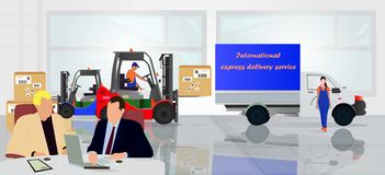 Οι επαγγελματικοί εργαζόμενοι φορτώνουν τα αγαθά στην αποθήκη εμπορευμάτων ελεύθερη απεικόνιση δικαιώματος