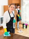 Οι επαγγελματικοί καθαριστές κάνουν τον καθαρισμό Στοκ εικόνες με δικαίωμα ελεύθερης χρήσης