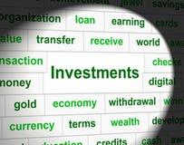 Οι επενδύσεις επενδύουν αντιπροσωπεύουν την επενδυμένες επένδυση και τις μετοχές απεικόνιση αποθεμάτων
