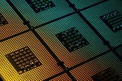 Οι επεξεργαστές υπολογιστών ευθυγράμμισαν με το αφηρημένο postproduction αποτελεσμάτων φωτισμού Στοκ Εικόνα