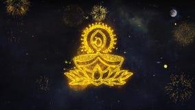 Οι επιθυμίες κειμένων εικονιδίων στοιχείων Diwali αποκαλύπτουν από τη ευχετήρια κάρτα μορίων πυροτεχνημάτων ελεύθερη απεικόνιση δικαιώματος