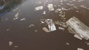 Οι επιπλέοντες πάγοι πάγου που επιπλέουν στον ποταμό Ο χρόνος κλίσης π απόθεμα βίντεο