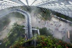 Οι επισκέπτες περπατούν πέρα από τη γέφυρα ουρανού στο αίθριο τροπικών δασών στους κήπους από τον κόλπο στη Σιγκαπούρη Στοκ Εικόνες