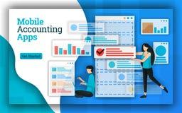 Οι επιχειρήσεις λογιστικής παρέχουν τις κινητές υπηρεσίες Apps λογιστικής για όλες τις υπηρεσίες λογιστικής μισθοδοτικών καταστάσ απεικόνιση αποθεμάτων
