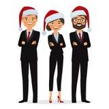 Οι επιχειρηματίες έντυσαν στα καπέλα Χριστουγέννων Στοκ Εικόνες