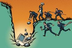 Οι επιχειρηματίες αγρίων σκοτώνουν τον υπολογιστή Λογοκρισία Διαδικτύου και polit διανυσματική απεικόνιση