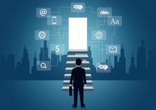 Οι επιχειρηματίες περπατούν επάνω το σκαλοπάτι στην πόρτα επιταχύνω τη σκάλα στο στόχο επιτυχίας στη ζωή και την πρόοδο στην εργα διανυσματική απεικόνιση
