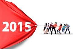 Οι επιχειρηματίες σύρουν τον αριθμό το 2015 Στοκ εικόνα με δικαίωμα ελεύθερης χρήσης
