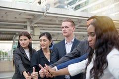 Οι επιχειρηματίες φυλλομετρούν μέχρι γιορτάζουν το επίτευγμα Στοκ Φωτογραφία