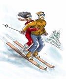 Οι εραστές κάνουν σκι Στοκ Φωτογραφίες
