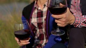 Οι εραστές πίνουν το κρασί στο riverbank, κινηματογράφηση σε πρώτο πλάνο απόθεμα βίντεο
