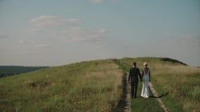 Οι εραστές σε έναν τομέα στο ηλιοβασίλεμα, ένα αγαπώντας ζεύγος περπατούν γύρω από τα χέρια εκμετάλλευσης απόθεμα βίντεο