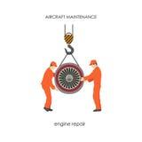 Οι εργαζόμενοι αύξησαν τη μηχανή αεροσκαφών σε έναν ανελκυστήρα Η επισκευή και Στοκ φωτογραφία με δικαίωμα ελεύθερης χρήσης