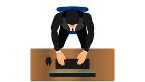 Οι εργαζόμενοι γραφείων δακτυλογραφούν ή γράφουν με έναν υπολογιστή απεικόνιση αποθεμάτων