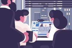 Οι εργαζόμενοι γραφείων ομαδοποιούν την τηλεοπτική συνομιλία Διανυσματική απεικόνιση