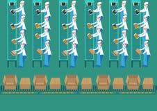 Οι εργαζόμενοι εγκαταστάσεων συναρμολογήσεων συγκεντρώνουν έναν υπολογιστή ταμπλετών κατά τρόπο στερεότυπο Τέχνη συνδετήρων Edita ελεύθερη απεικόνιση δικαιώματος