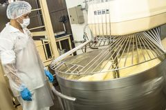 Οι εργαζόμενοι εργάζονται στη γραμμή παραγωγής μιας βιομηχανίας του ψωμιού, κέικ και panettones στο Σάο Πάολο Στοκ Εικόνες