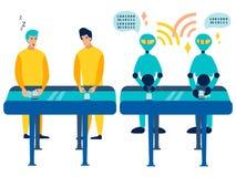 Οι εργαζόμενοι σύγκρισης είναι άνθρωποι και ρομπότ Διάθεση στα τηλέφωνα μεταφορέων Στο μινιμαλιστικό ύφος Επίπεδο διάνυσμα κινούμ απεικόνιση αποθεμάτων