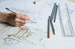 Λεπτομέρειες σχεδίων χεριών του εσωτερικού Στοκ Εικόνες