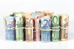 Οι ευρο- λογαριασμοί που χρησιμοποιούνται από τους Ευρωπαίους είναι εκείνοι 5 10 20 50 Στοκ Φωτογραφία