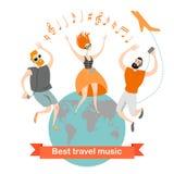 Οι ευτυχείς άνθρωποι ταξιδεύουν με τη μουσική Τα καλύτερα τραγούδια είναι απευθείας προσβάσιμα σε όλο τον κόσμο απεικόνιση αποθεμάτων
