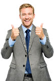 Οι ευτυχείς αντίχειρες επιχειρηματιών υπογράφουν επάνω στο άσπρο υπόβαθρο Στοκ Εικόνα