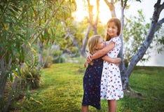 Οι ευτυχείς αστείες αδελφές αγκαλιάζουν από κοινού Στοκ Εικόνα