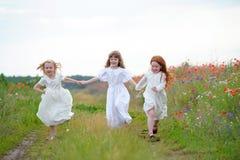 Οι ευτυχείς αδελφές φίλων παιδιών τρέχουν και παίζουν υπαίθρια στο υδρόμελι Στοκ φωτογραφία με δικαίωμα ελεύθερης χρήσης