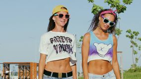 Οι ευτυχείς γυναίκες στα γυαλιά ηλίου περπατούν στο πάρκο απόθεμα βίντεο