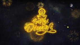 Οι ευτυχείς επιθυμίες κειμένων Diwali Shubh αποκαλύπτουν από τη ευχετήρια κάρτα μορίων πυροτεχνημάτων ελεύθερη απεικόνιση δικαιώματος