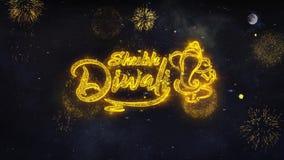 Οι ευτυχείς επιθυμίες κειμένων Diwali Shubh αποκαλύπτουν από τη ευχετήρια κάρτα μορίων πυροτεχνημάτων απεικόνιση αποθεμάτων