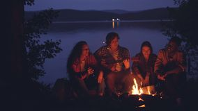 Οι ευτυχείς και χαλαρωμένοι τύποι και τα κορίτσια τραγουδούν ενώ ο φίλος τους παίζει την κιθάρα κοντά στην πυρά προσκόπων στο δάσ απόθεμα βίντεο
