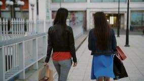 Οι ευτυχείς νέοι φίλοι γυναικών που περπατούν πέρα από τη γέφυρα με τις τσάντες αγορών, ομιλία συζητούν, πίσω άποψη, αργός πυροβο απόθεμα βίντεο