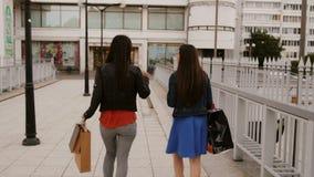 Οι ευτυχείς νέοι φίλοι γυναικών που περπατούν πέρα από τη γέφυρα με τις τσάντες αγορών, ομιλία συζητούν, πίσω άποψη, stedicam πυρ φιλμ μικρού μήκους
