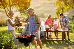 Οι ευτυχείς παππούδες και γιαγιάδες πίνουν το κρασί Στοκ φωτογραφία με δικαίωμα ελεύθερης χρήσης