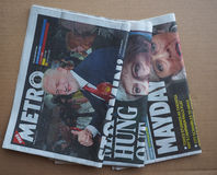 Οι εφημερίδες που παρουσιάζουν Theresa μπορούν και Jeremy Corbyn Στοκ Εικόνες