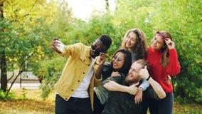 Οι εύθυμοι άνδρες και οι γυναίκες νεολαίας παίρνουν selfie στο πάρκο χρησιμοποιώντας το smartphone, κάνοντας τα αστεία πρόσωπα κα στοκ φωτογραφίες με δικαίωμα ελεύθερης χρήσης