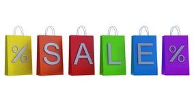 Οι ζωηρόχρωμες τσάντες αγορών με το μήνυμα πώλησης τρισδιάστατο δίνουν την τρισδιάστατη απεικόνιση Στοκ Εικόνα